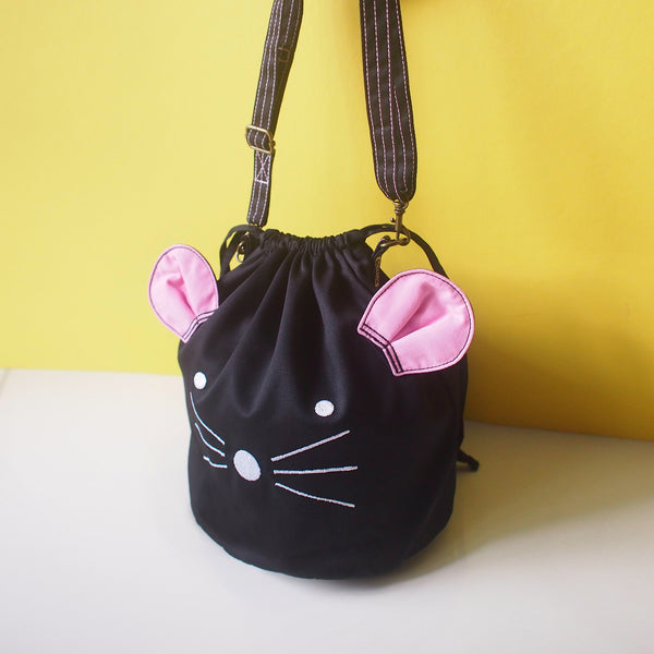 Crossbody Drawstring Bucket Sling Bag - Little Mouse (Black)