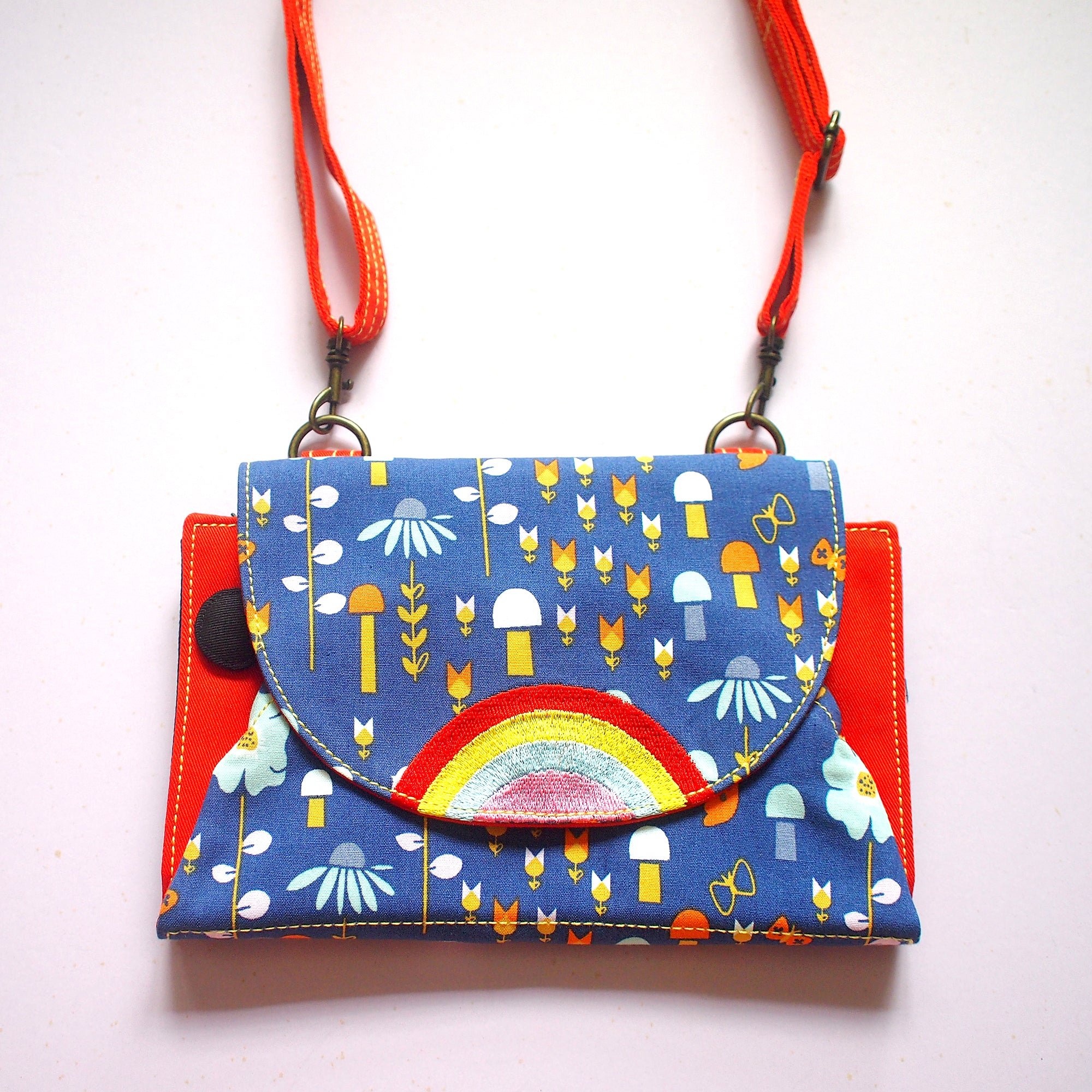 Crossbody-Clutch-Wallet - Over The Rainbow (Blue Floral Mushrooms)