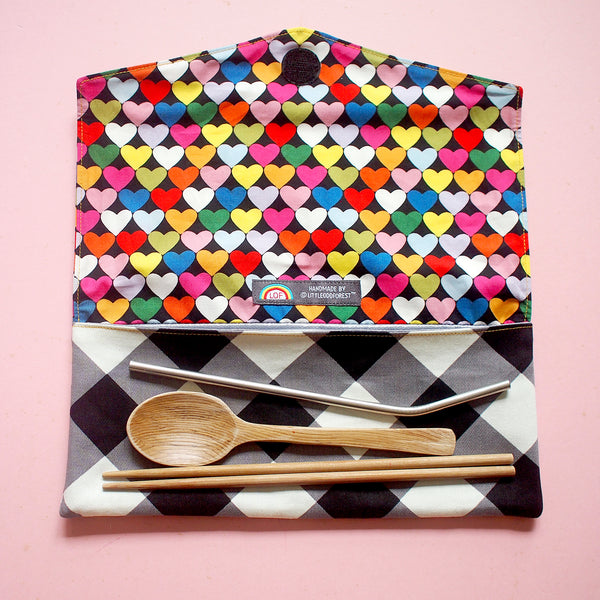 Utensils Pouch (2 Compartments) - Over The Rainbow (Rainbow Hearts) Black