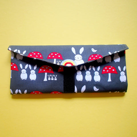 Utensils Pouch (2 Compartments) - Over The Rainbow (Bunny Mushrooms)