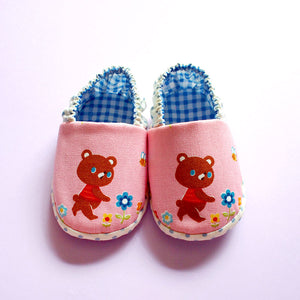 Baby Booties - Little Brown Bear I (Pink)