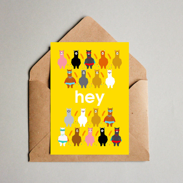 Blank Greeting Card - Hey Alpacas