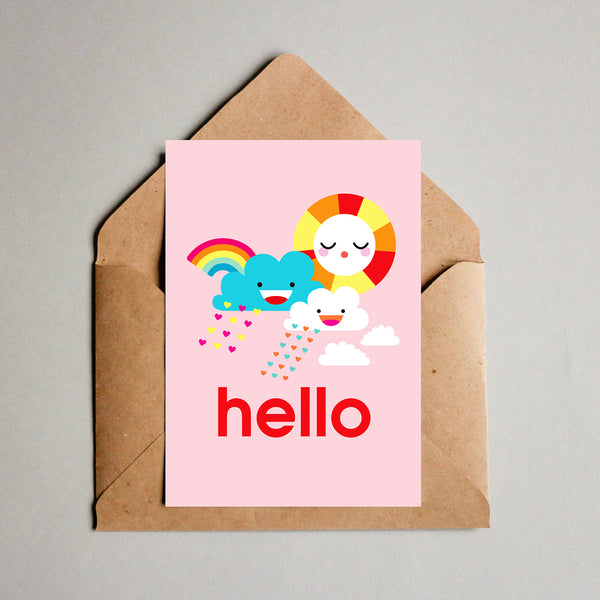 Blank Greeting Card - Hello Happy Day