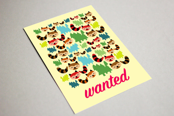Blank Greeting Card - Wanted, Bandit Raccoons
