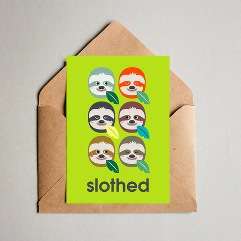 Blank Greeting Card - Slothed Sloths