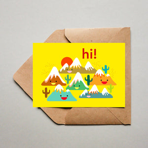 Blank Greeting Card - Hi, Mountain Friends