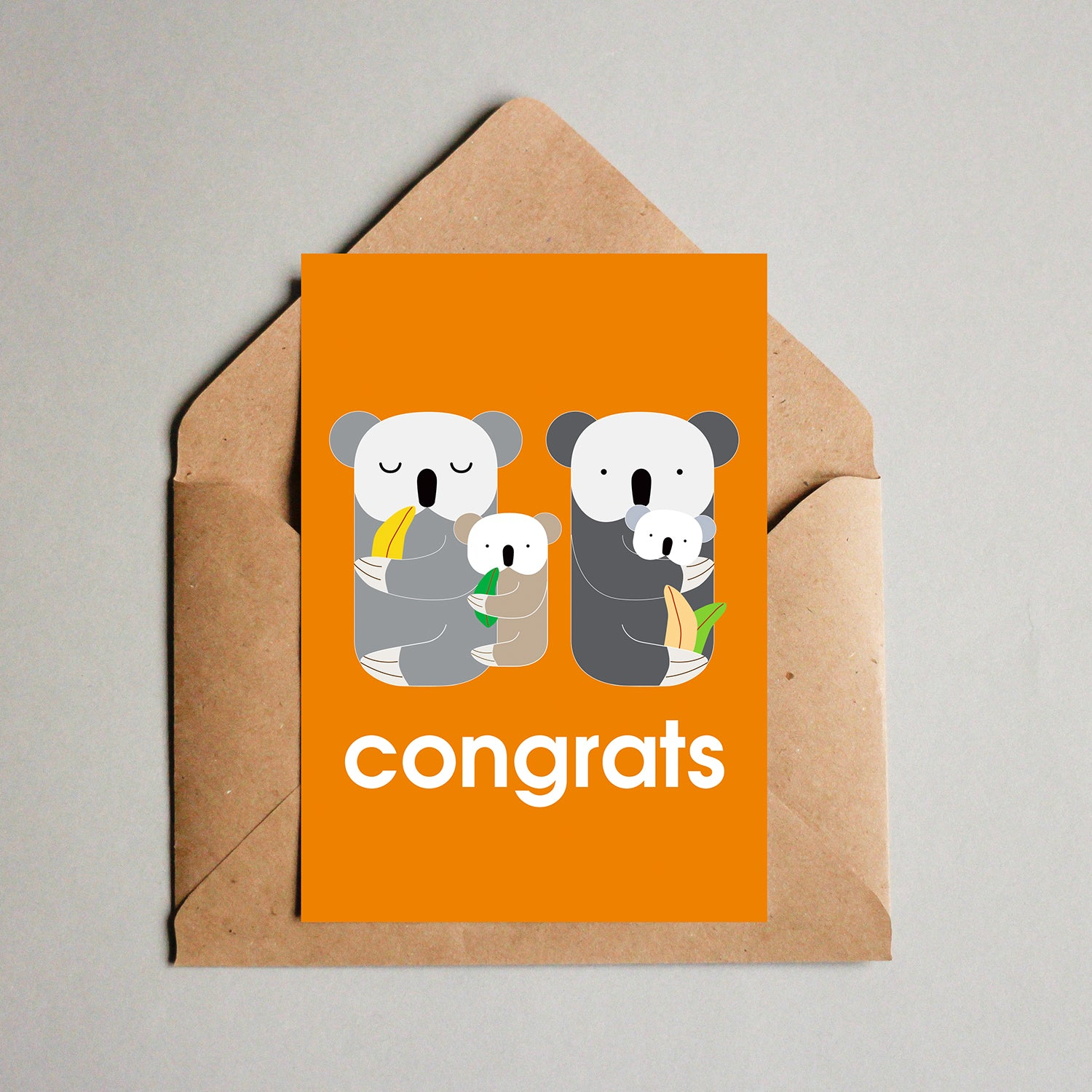 Blank Greeting Card - Congrats, Koala Family