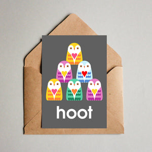 Blank Greeting Card - Hoot, The Owls