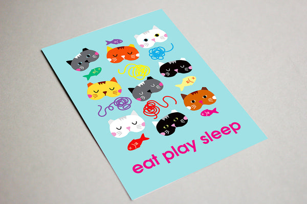 Blank Greeting Card - Eat Play Sleep Cats