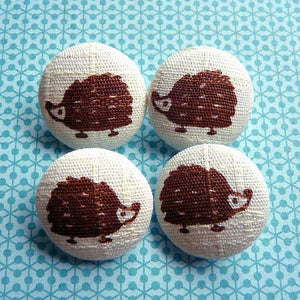 Fabric Buttons - Brown Hedgehogs
