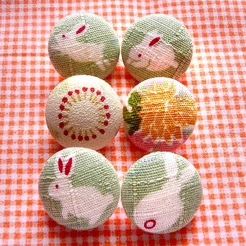 Fabric Buttons - White Japanese Bunnies