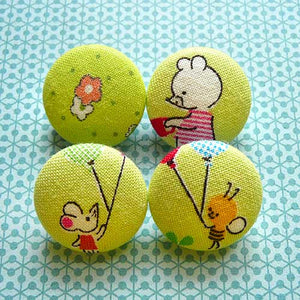 Fabric Buttons - Bear Mouse Bee Flower