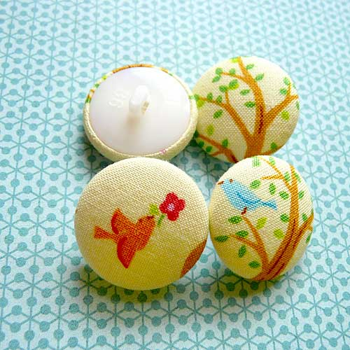 Fabric Buttons - Spring Season Birds