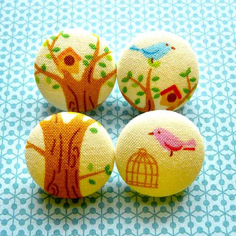 Fabric Buttons - Spring Season Bird House