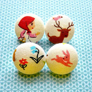 Fabric Buttons - Red Riding Hood I
