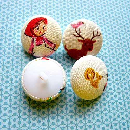 Fabric Buttons - Red Riding Hood II