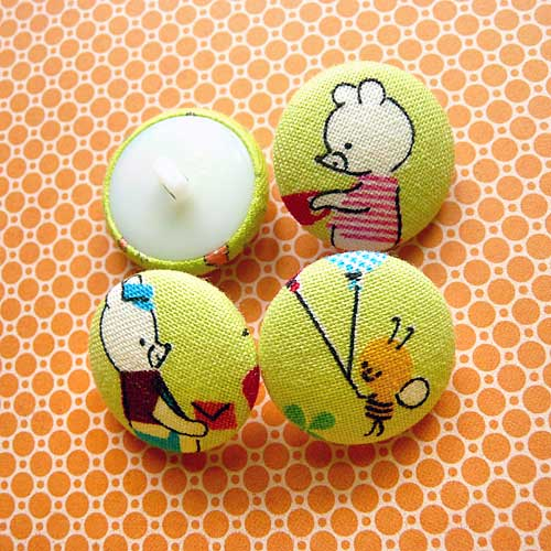 Fabric Buttons - Postman Bear & Bee