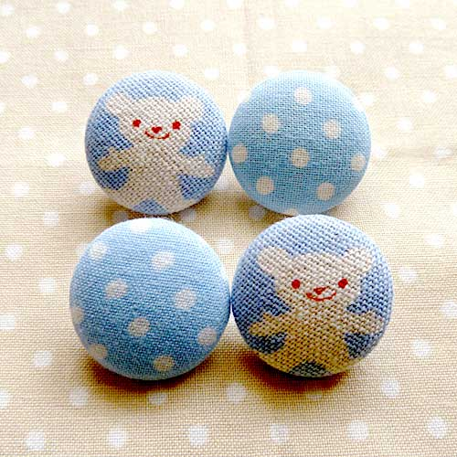 Fabric Buttons - Baby Blue Bear Polka Dots