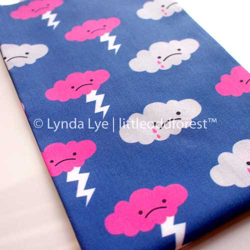 Fat Quarter Fabric - Sad Rain Storm Clouds