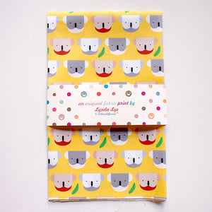 Fat Quarter Fabric - Koala Loves Eucalyptus (Yellow)