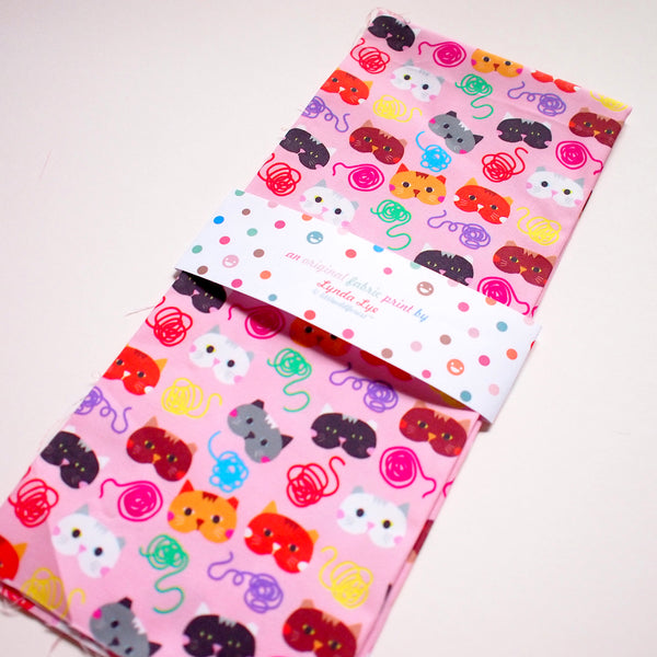 Fat Quarter Fabric - Cat Loves Strings (Pink)