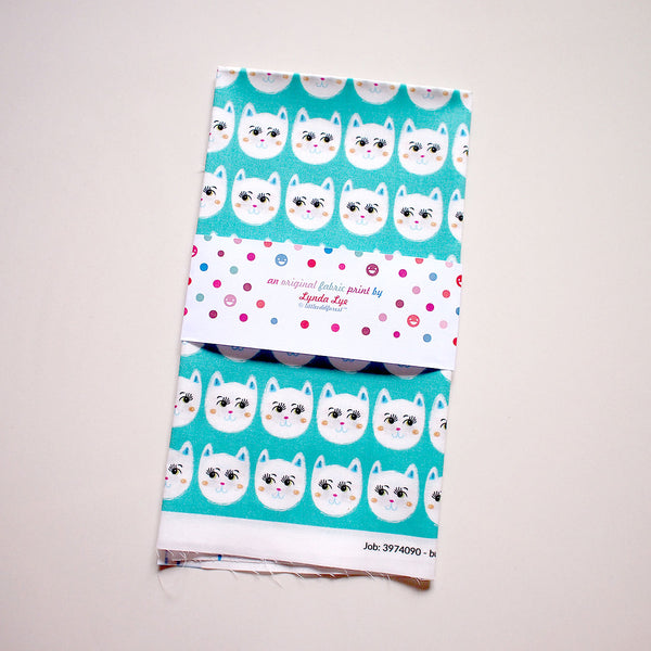 Fat Quarter Fabric - Coy White Cats