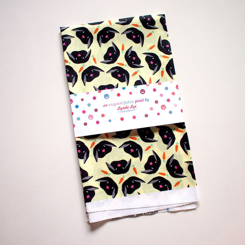 Fat Quarter Fabric - Black Bunny Rabbit & Carrots