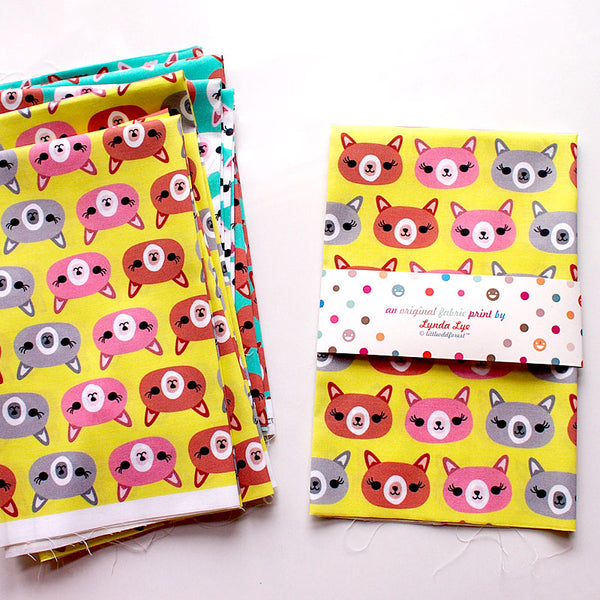Fat Quarter Fabric - Amigo Alpaca Heads (Lime Yellow Green)
