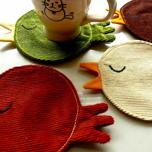 Coasters Set (Set of 4) - Haughty Forest Birds (Corduroy)