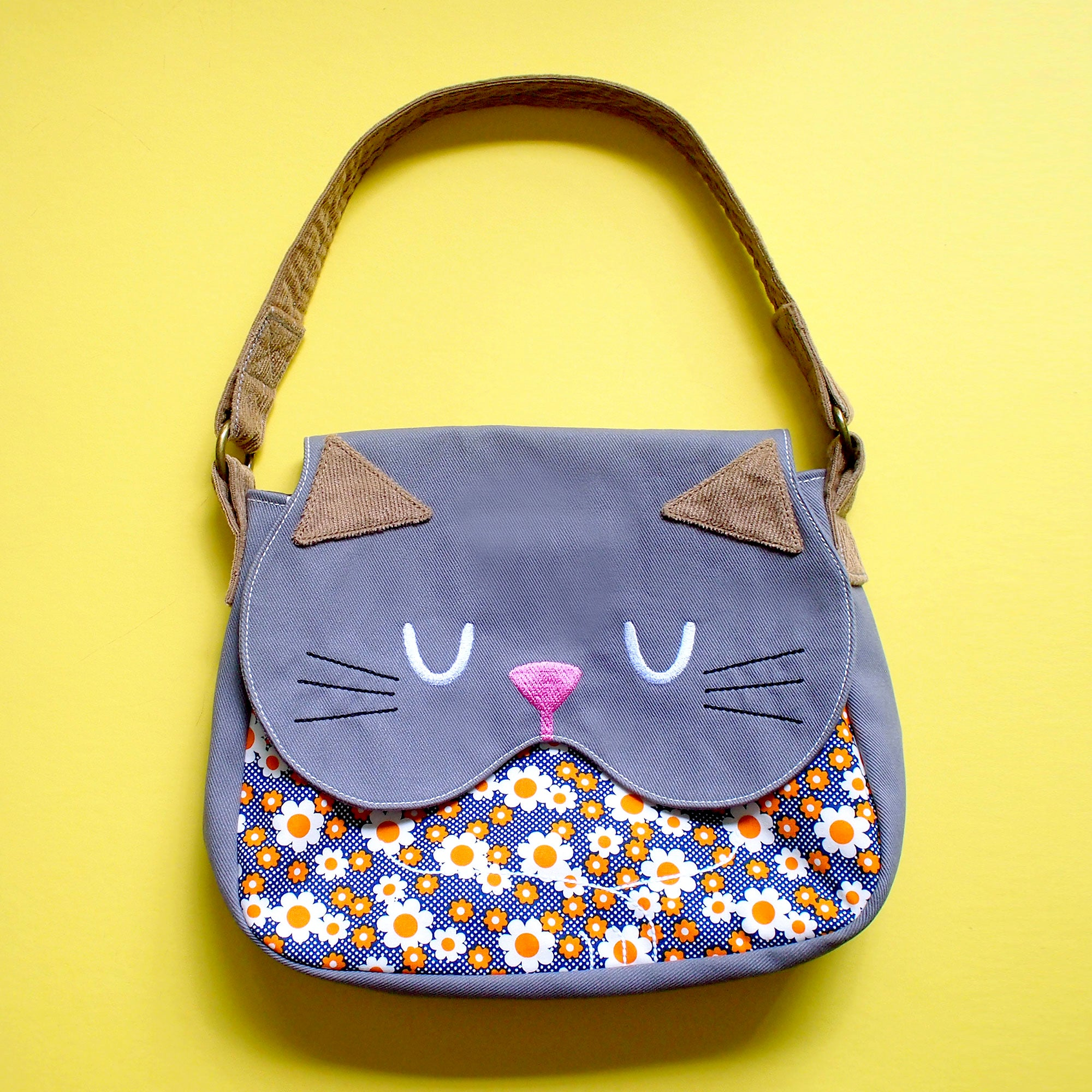Handbag - Forest Kitty Cat (Tangy Ebony Posies)