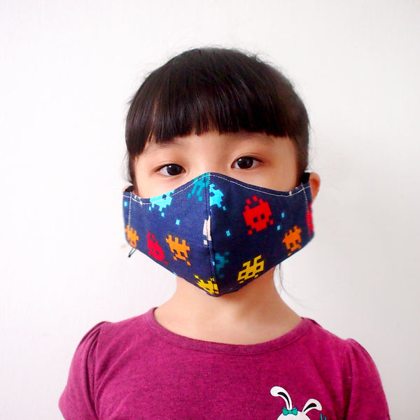 Face Mask (Pocket Insert) Kids Size - 8-Bit Space Invaders