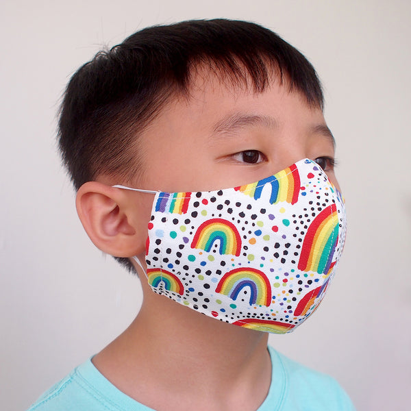 Face Mask (Pocket Insert) KIDS SIZE - Painting Rainbows