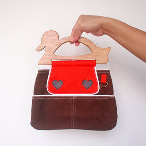 Handcarry Purse - Wooden Handle Duck (Brown)