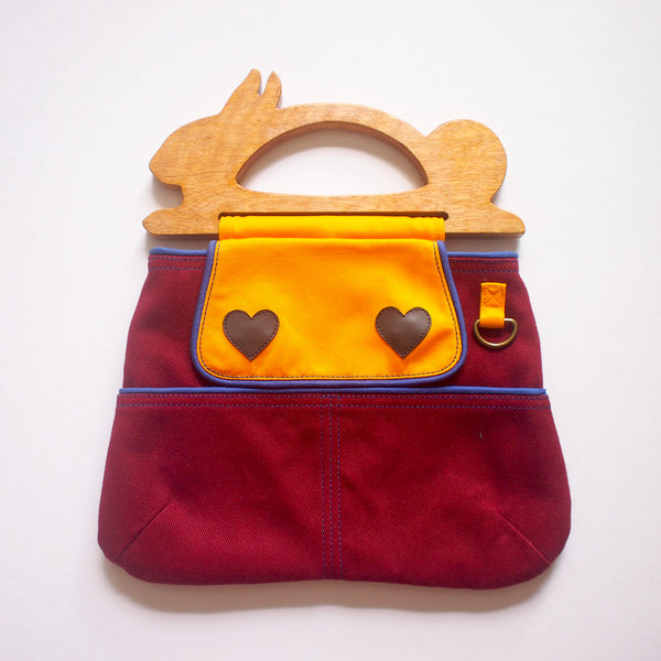 Handcarry Purse - Wooden Handle Bunny (Burgundy)