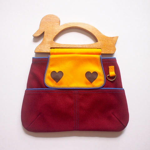 Handcarry Purse - Wooden Handle Duck (Burgundy)