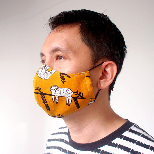 Face Mask (Pocket Insert) ADULTS - Mustard Sloths