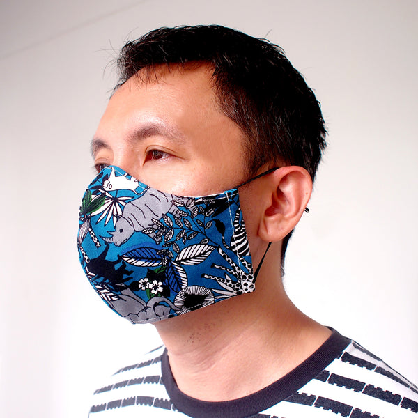 Face Mask (Pocket Insert) - Jungle Animals (Prussian Blue)