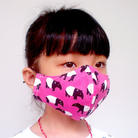 Face Mask (Pocket Insert) KIDS SIZE - Malayan Tapir (Pink)