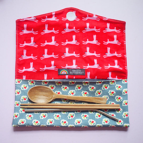 Utensils Pouch (2 Compartments) - Over The Rainbow (Leaping Bunny Rabbits)