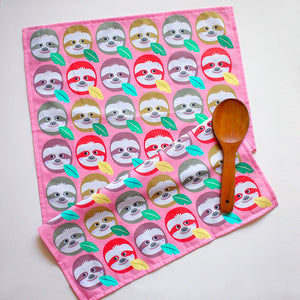 Tea Towel - Slothful Sloth Heads