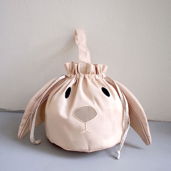 Drawstring Handcarry Bucket Purse - Chubby Bunny (Cream)