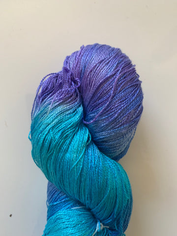 HAND DYED MULBERRY SILK LACE YARN