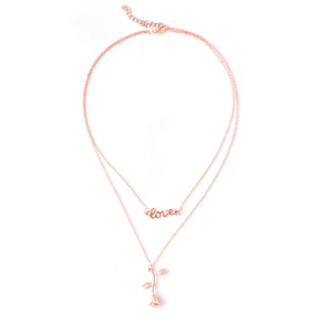 Blush Hanging Rose Necklace