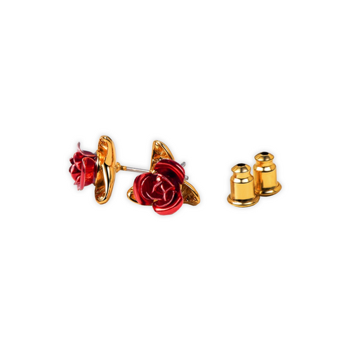 Gold Stud Rose Earrings