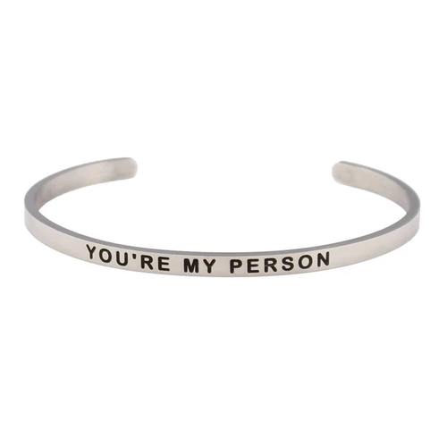 Silver You're My Person Bangle