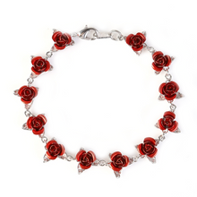 Load image into Gallery viewer, Silver Dozen Roses Bracelet