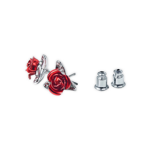 Silver Stud Rose Earrings