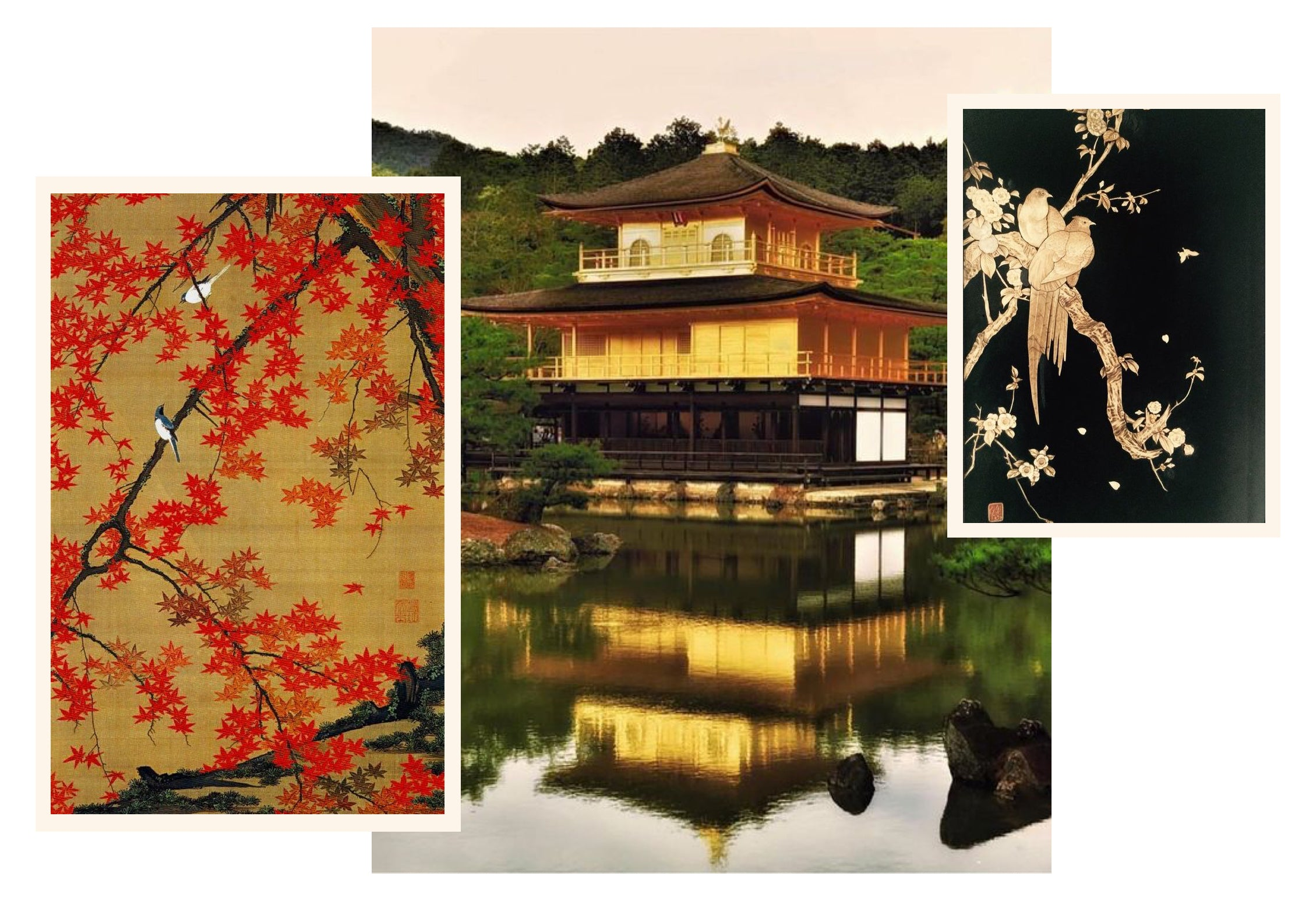 A picture of a zen temple, Japanese maple trees and gold lacquer work