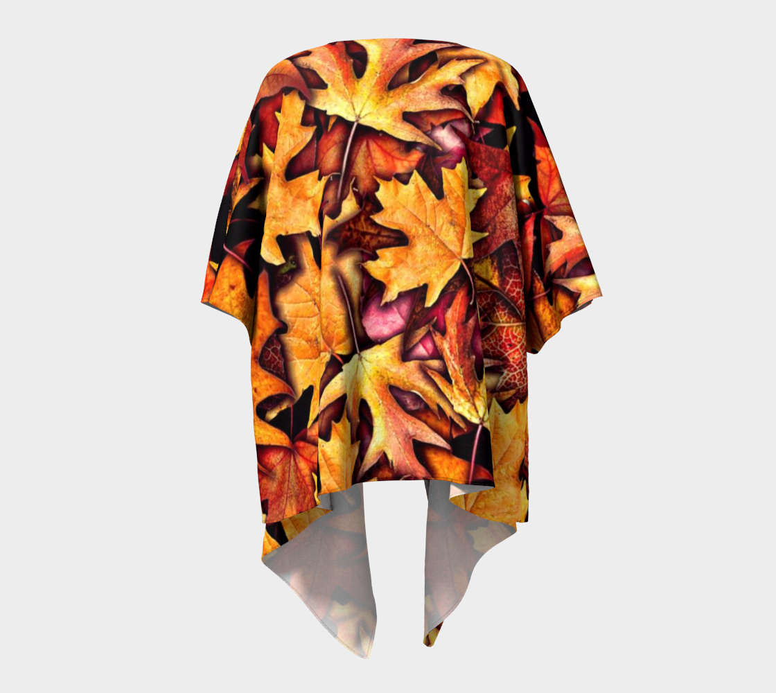 Fall leaves Collage Draped Kimono Jacket