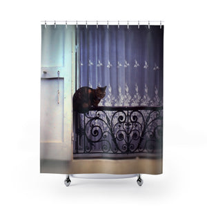 Cat on A French Balcony Shower Curtains